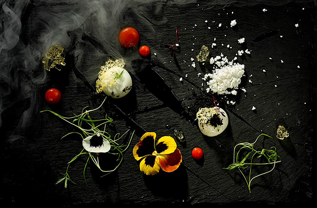 Sweet canape selection on black slate. Photography by Food Photographer London, Michael Michaels