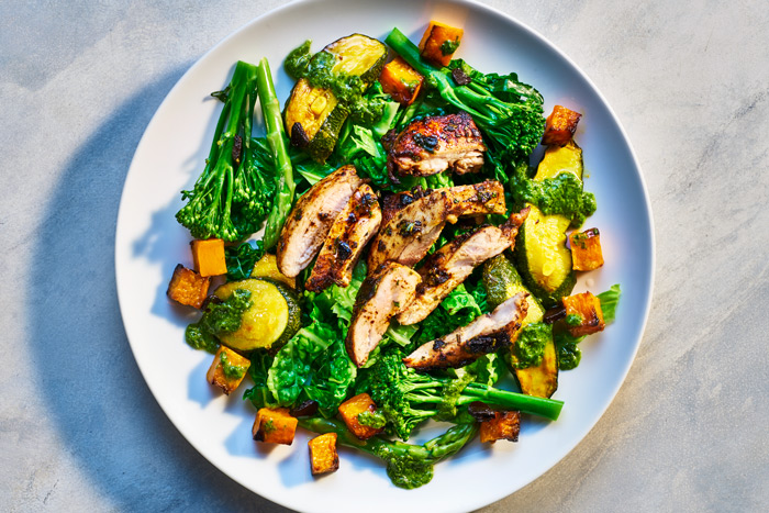 Photo of Gilled chicken with broccoli, sweet potato cubes and vegetables by London food photographer Michael Michaels