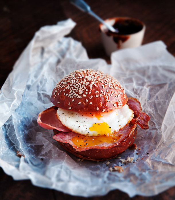 Egg and bacon brioche bap by London Food Photographer Michael Michaels