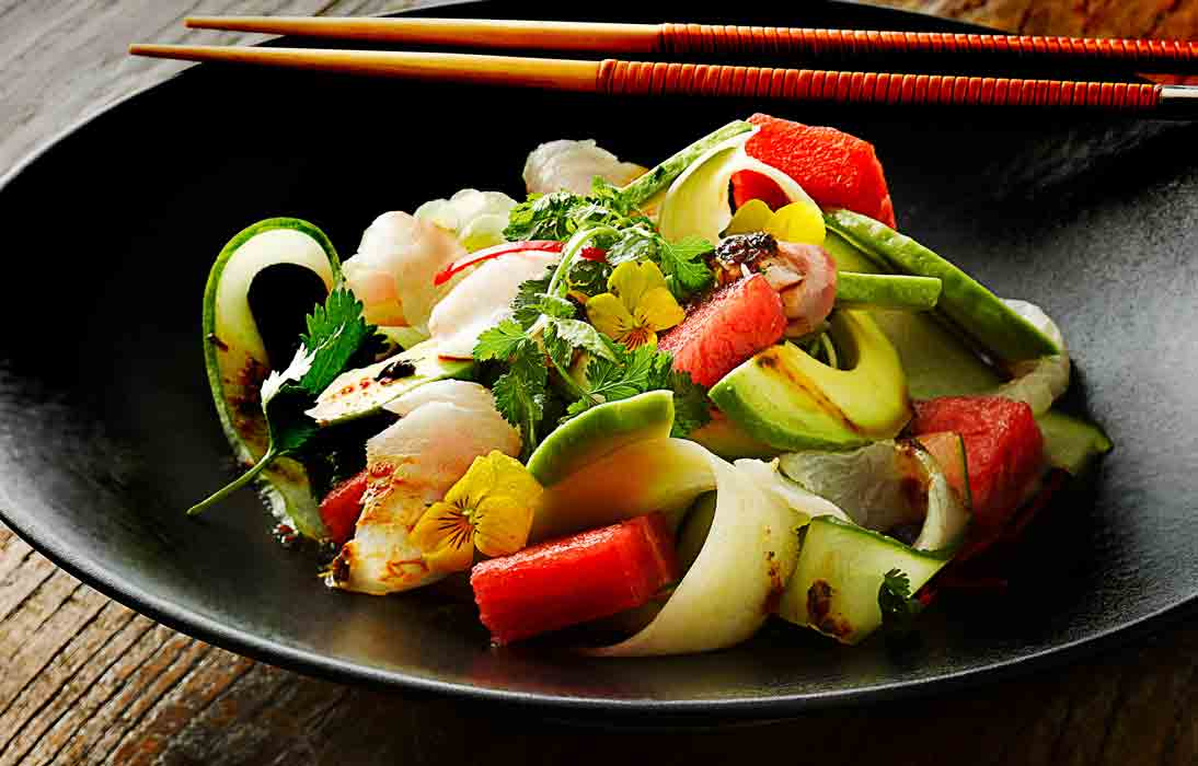Seabass sashimi Salad by London Food Photographer Michael Michaels