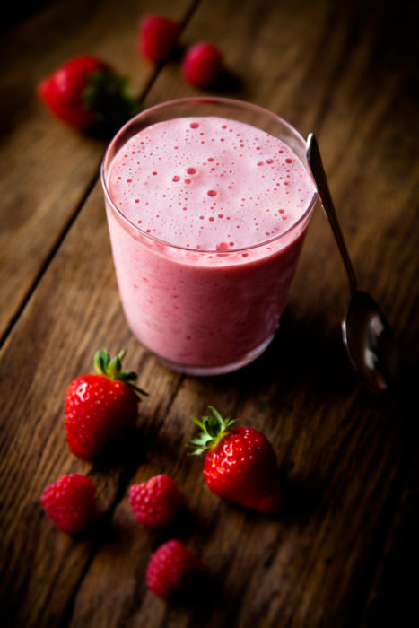 Strawberry & raspberry smoothie by London food photographer michael michaels