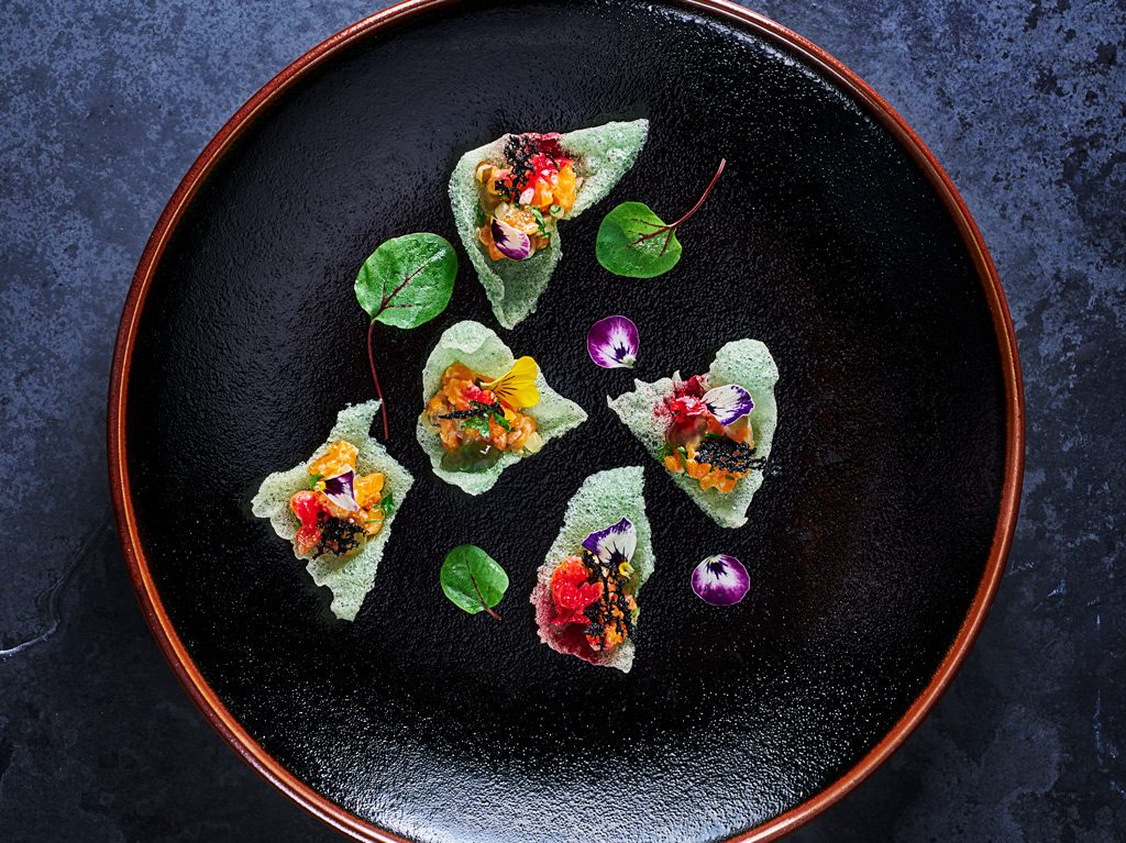 Salmon Tartare on Seafood cracker by Food Photographers London