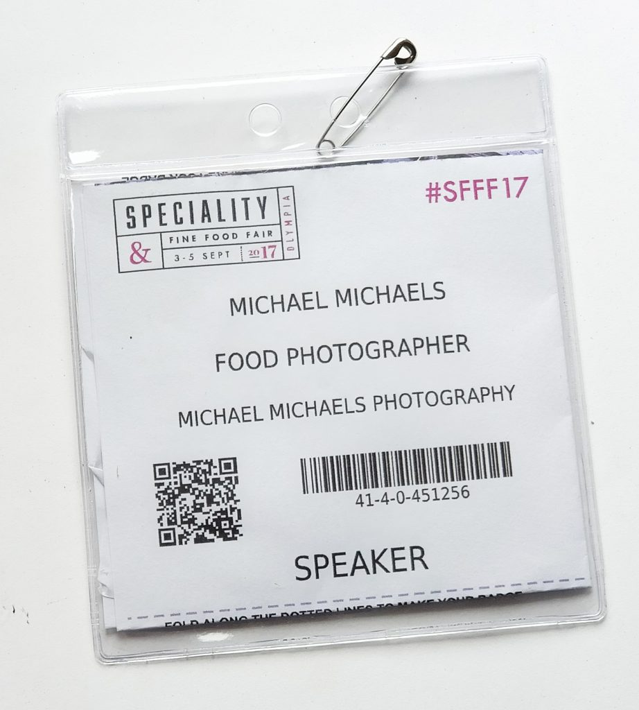 Speaker Badge fro London food photographer