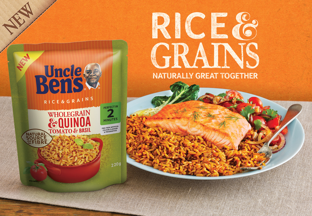 Uncle Bens Grains roasted salmon fillet with tomatoes and pak chi. Ad by London food photographer michael michaels