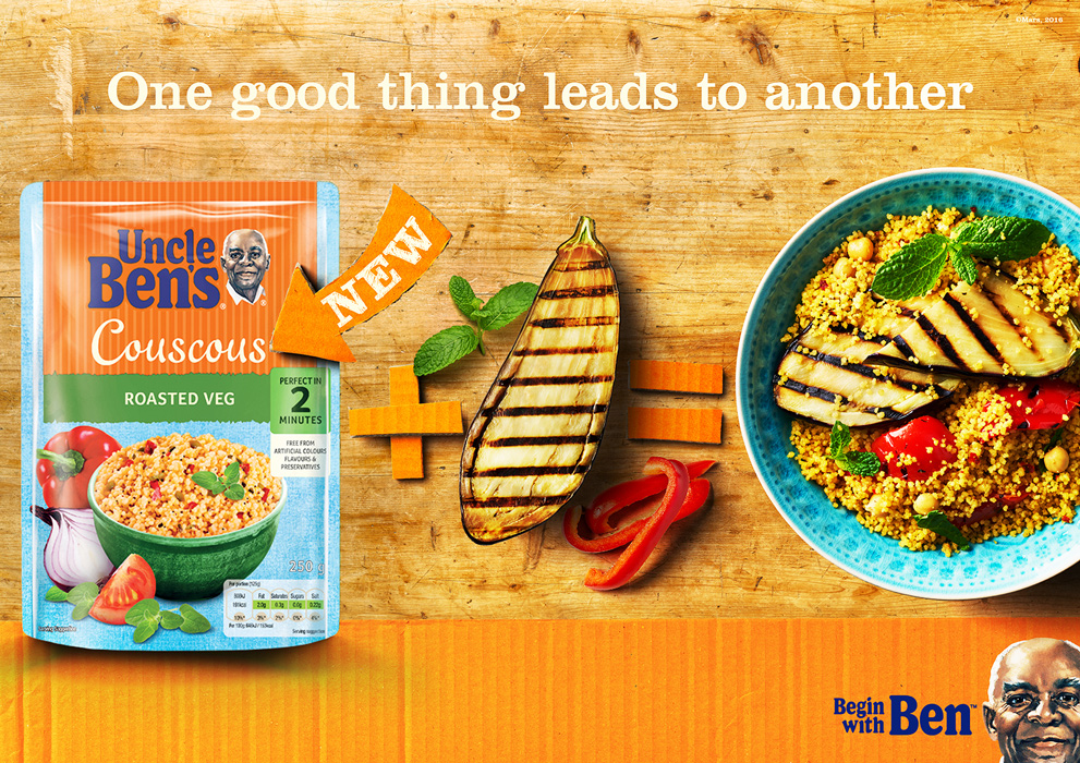 Uncle Bens couscous with aubergine and roasted peppers. Ad Photography by London food photographer michael michaels