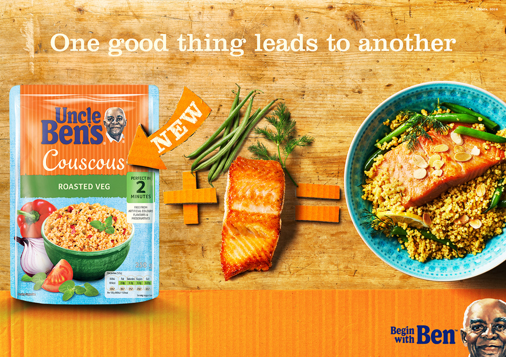 Uncle Bens couscous with French beans, roasted salmon and dill. Ad Food Photography by London food photographer michael michaels