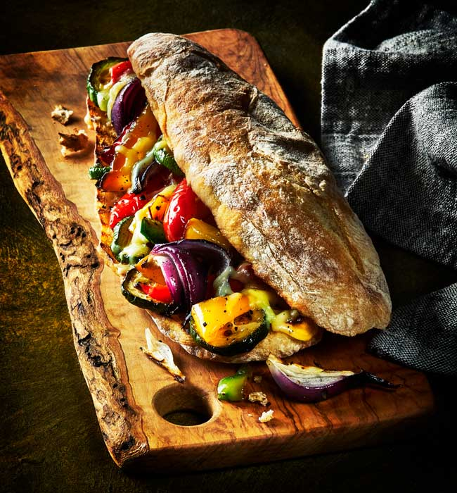 Roasted veg ciabatta baguette photo by London food photographer Michael Michaels