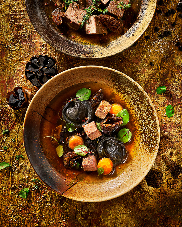 Food PhotographerLondon_Black tortoleni with beef in consomme