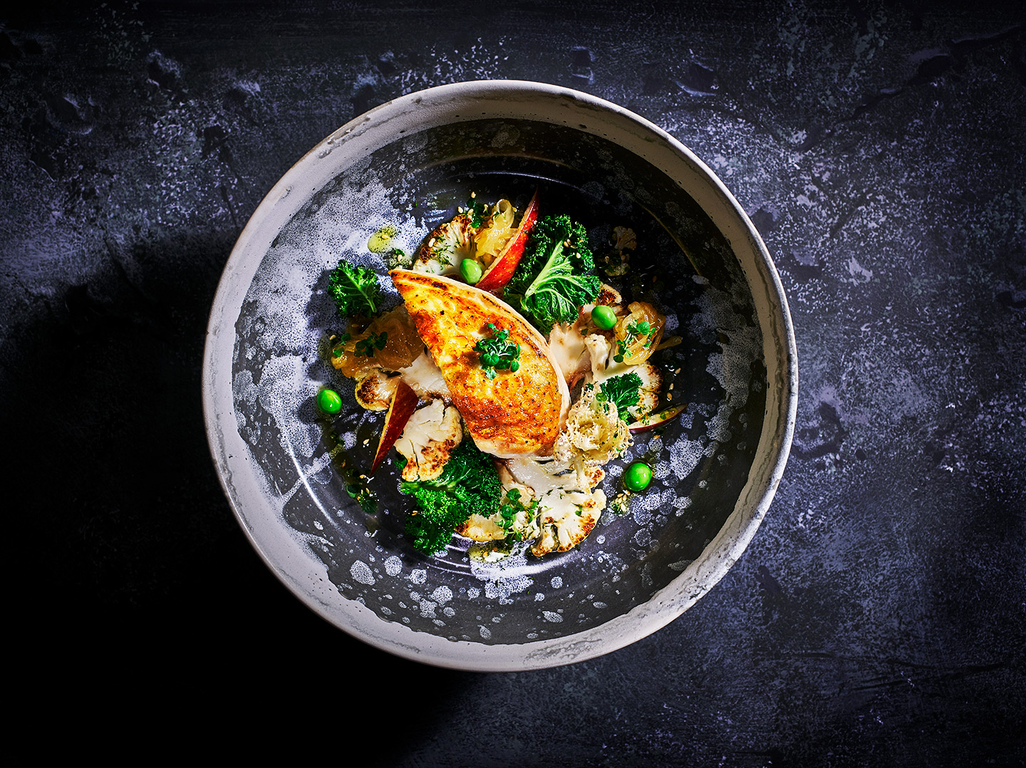 Arty Chicken with vegetables Cauliflower. Food photography by Food Photographer London, Michael Michaels