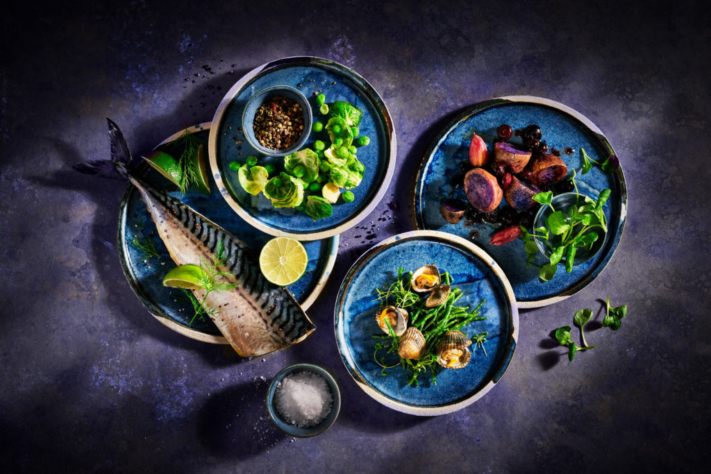 Food photographer London_Fish-shot_Mackerel, Clamp, Samphire, Sprouts