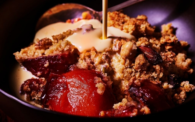 Plum Crumble by London food photographer, Michael Michaels