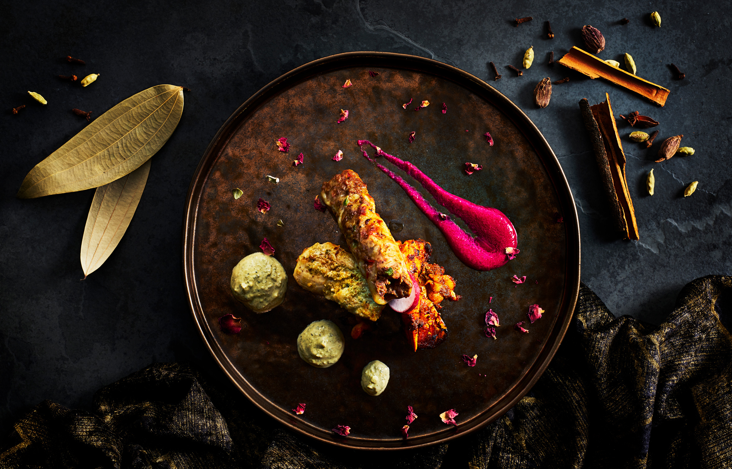 Mixed Indian starter by London food photographer Michael Michaels