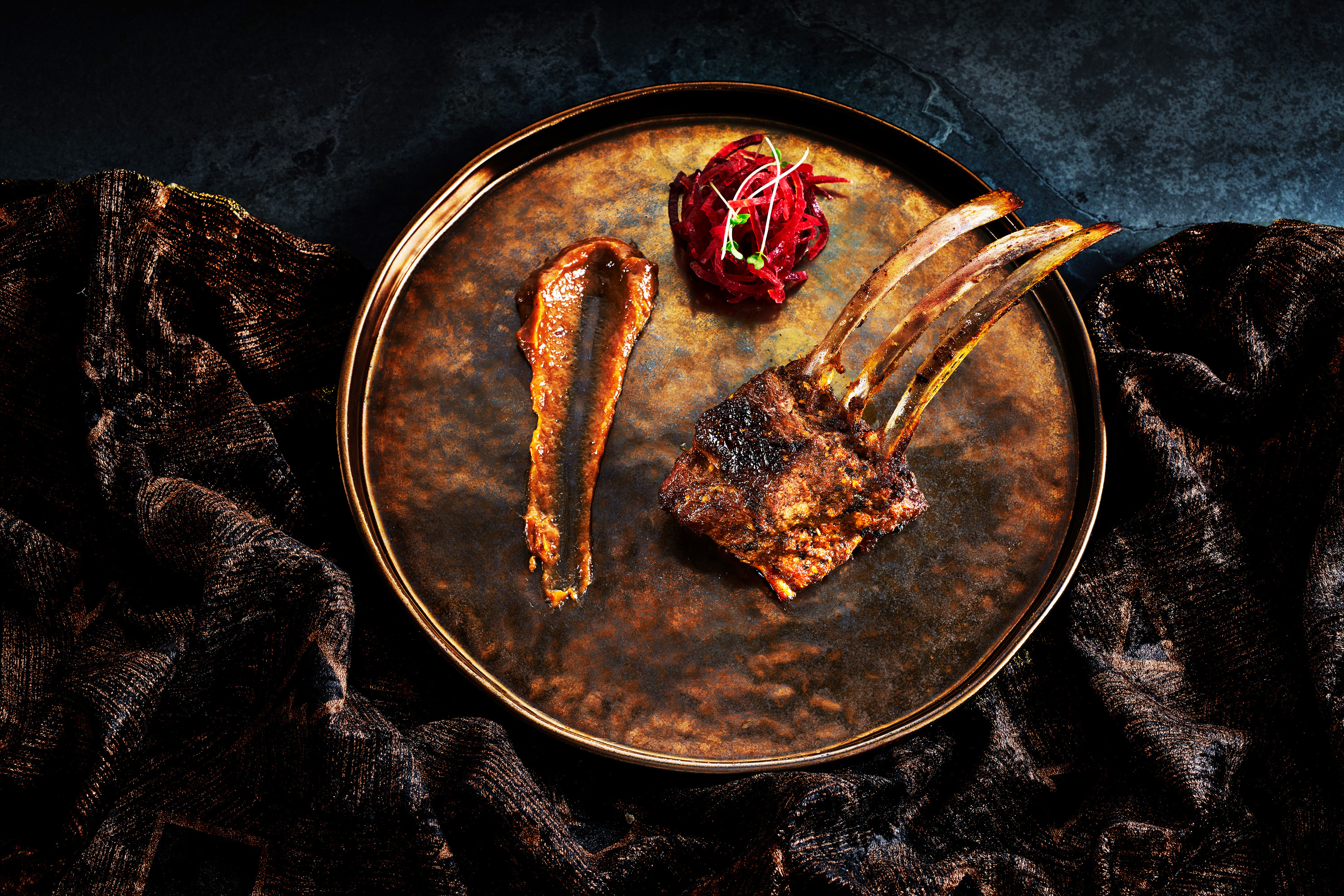 Photograph of rack of lamb by London food photographer, Michael Michaels