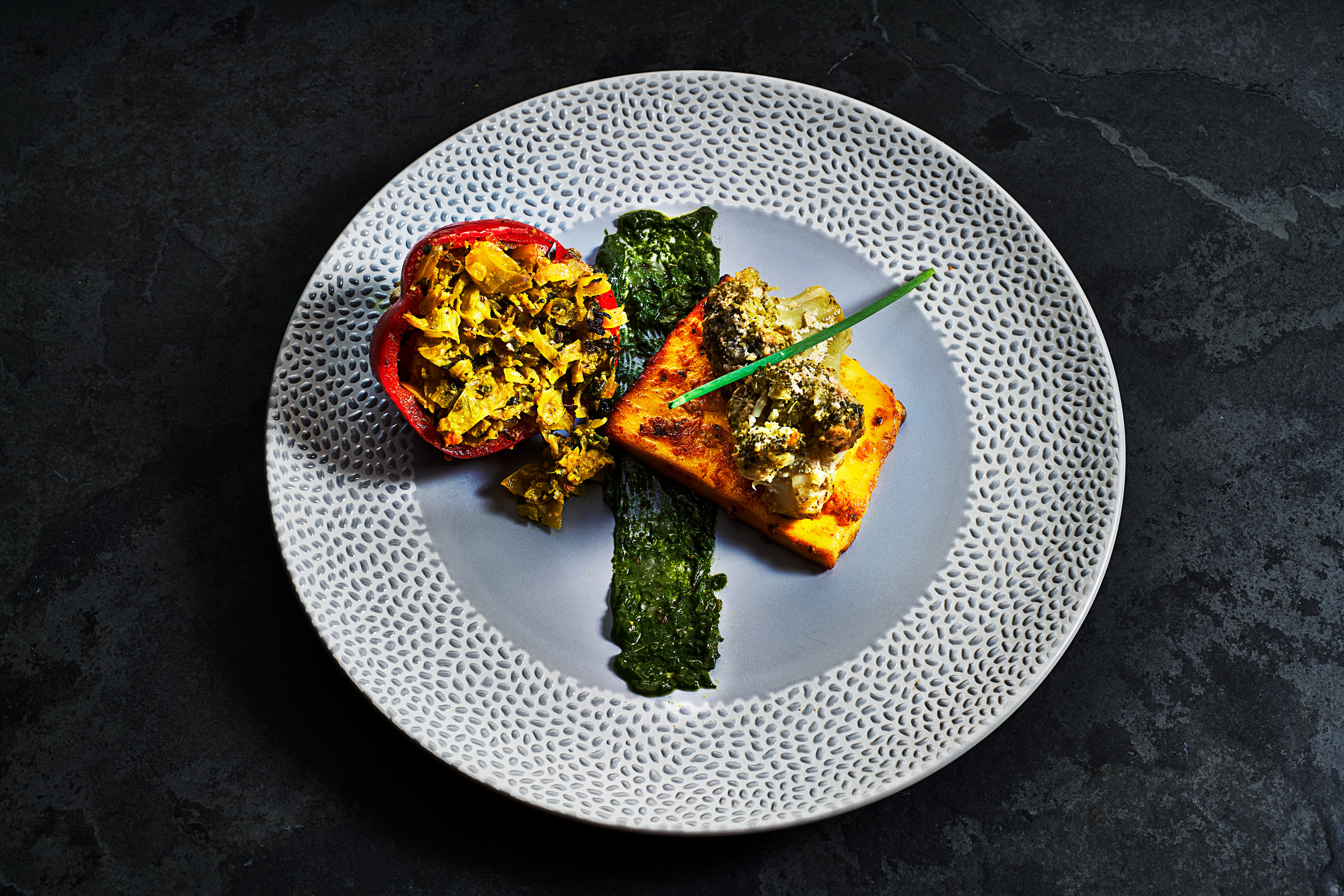 Photograph of Indian style Vegan option, tandoori tofu by London food photographer, Michael Michaels