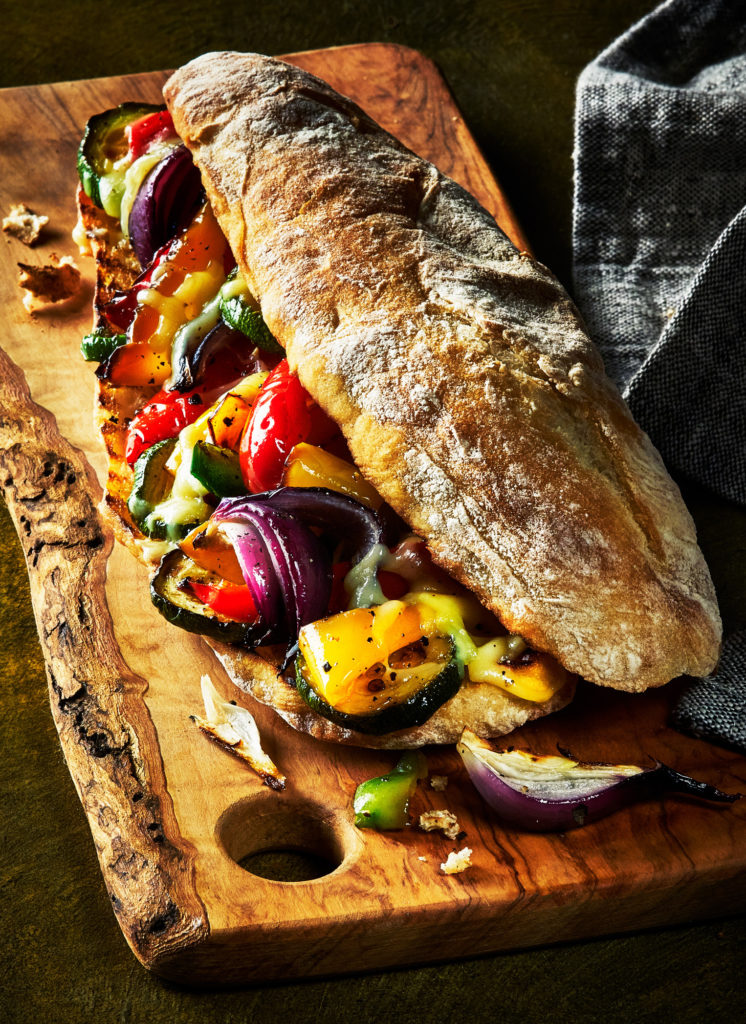 Photo of Ciabatta grilled vegetarian sandwich by London food photographer, Michael Michaels