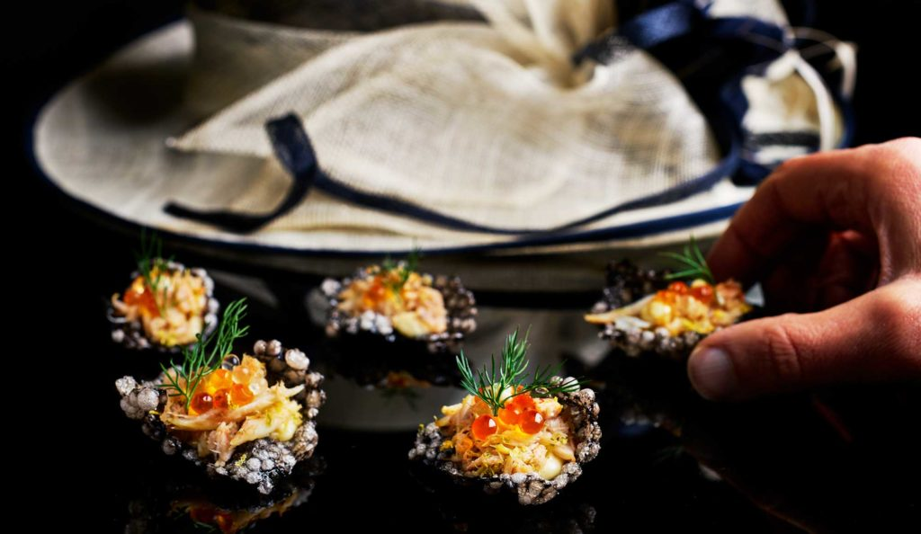 Stunning Tapioca and Squid Ink Cracker topped with fresh crab, lemon and lime zest, yuzu pearls and yuzu mayonnaise is delicious and gluten-free