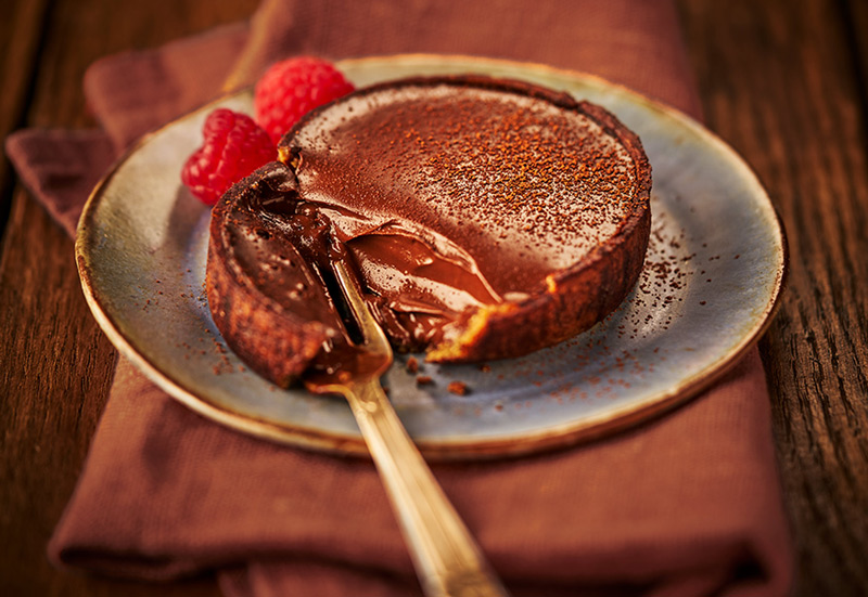 Vegan Indulgent Chocolate tart shot by London food photographer Michael Michaels